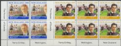 SG 1559-60 New Zealand Sporting Heroes (1st series) health stamps set of 2 imprint blocks of 6 (NF1/150)
